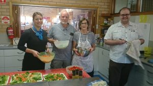 Zoe, Karina, Gary and Ashley preparing the Monday night Community Meal
