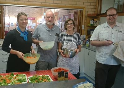 Zoe, Karina, Gary and Ashley preparing the Monday night Community Meal